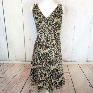 Max Studio Leopard Print V Neck Flowing Midi Dress